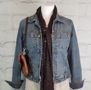 CAbi XS Stretchy Denim Jean Jacket Cropped Tapered